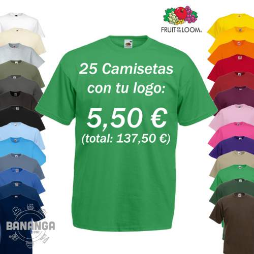 25 Camisetas Fruit of the Loom con tu Logo por solo 5,50 euros camiseta