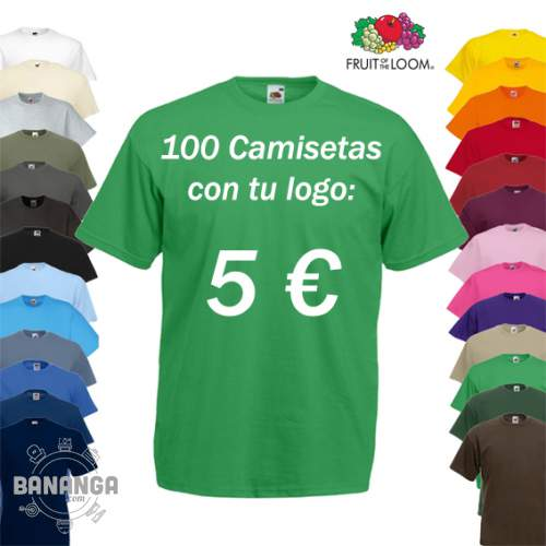 100 Camisetas Fruit of the Loom con tu Logo x 5 euros camiseta